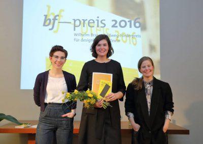 bf-preis 2016 / Lea Schmidt Anerkennung, Marion Kliesch Preisträgerin, Sabine Lachnit Anerkennung
