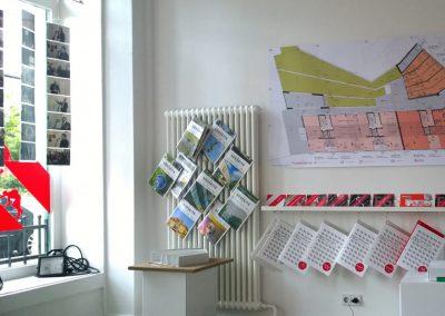 Baufeld V Studio / info wall and shopwindow