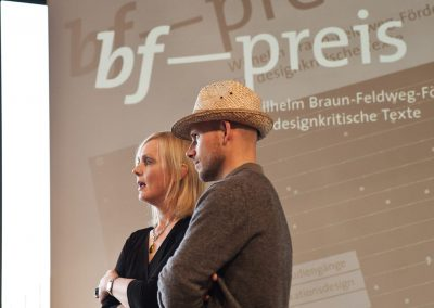 bf-preis 2012 / award-winner Moritz Grund and host Benita Braun-Feldweg